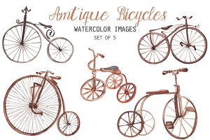Watercolor antique bicycles clipart