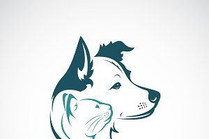 Vector of dog and cat head design.