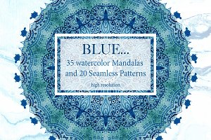 Blue watercolor collection