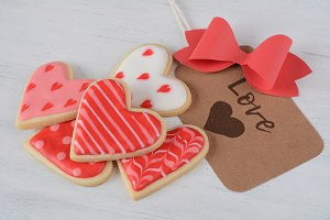 Close up of Valentine's day cookies