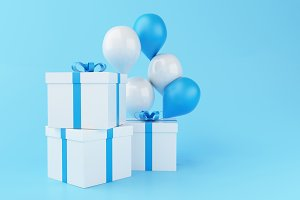 3d Balloons and gift boxes on blue b