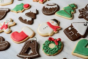 Different christmas homemade cookies