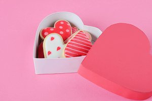 Heart shaped cookies for Valentine's