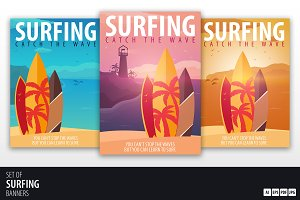 Surfing Sunset Posters