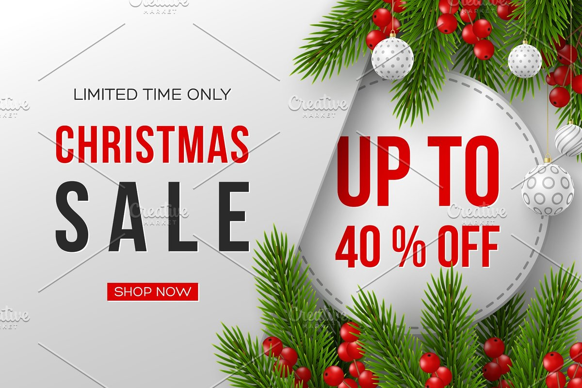 e12bb25bf3 Christmas sale banner with ~ Illustrations ~ Creative Market