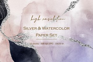 Silver and watercolor digital papers