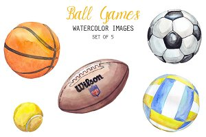 Watercolor Ball Games Clipart