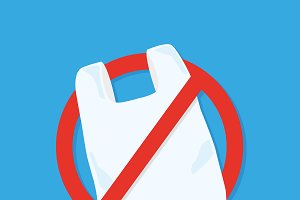 No plastic bag icon Vector flat