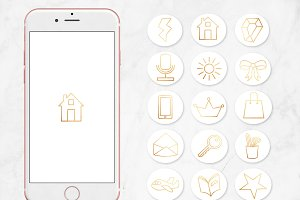 Gold Foil Instagram Highlight Icons