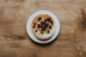 top view of sweet homemade pancakes