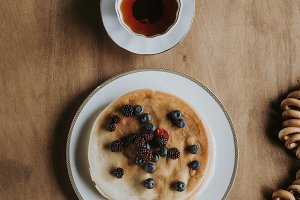 top view of delicious pancakes with