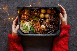 Wooden box with Christmas decoration