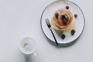 top view of tasty healthy pancakes a