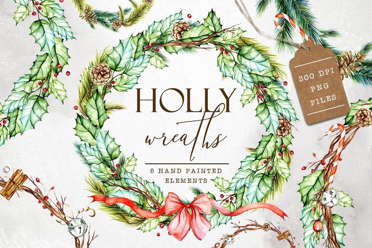 Watercolor Wreaths Clip Art Illustrations Creative Market