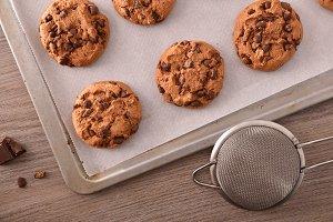 Handmade cookies baked top view