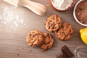 Making cookies with chocolate top