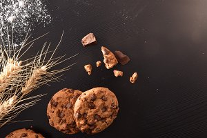 Biscuits with chocolate chips view