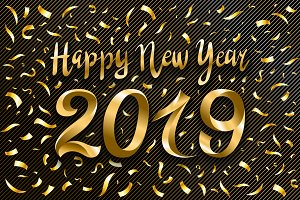vector happy new year 2019 gold