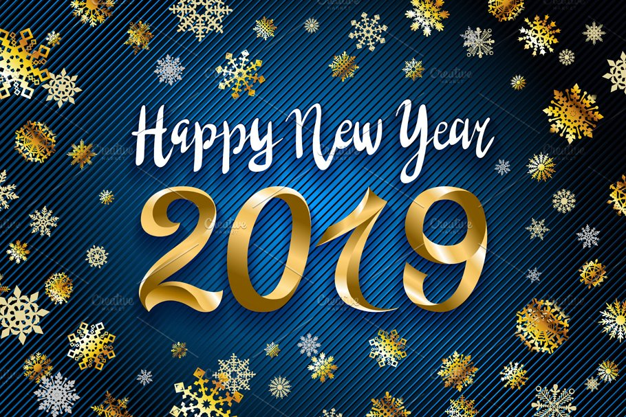 vector gold happy new year 2019 snow graphics creative market