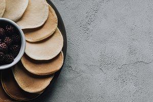 top view of fresh sweet pancakes wit