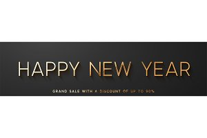 Happy New Year horizontal banner.