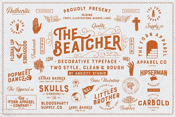 Display Fonts: Anxiety Studio - The Beatcher Typeface (Extras)