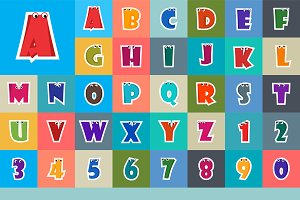 Alphabet Cartoon Letter Design Set