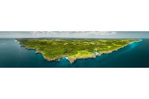 Panorama island, ocean. Aerial drone