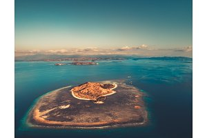The island among the ocean. Aerial