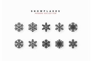 Set vector snowflakes.
