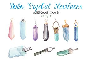 Watercolor Crystal Necklaces Clipart