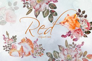 Watercolor Red Clipart Set