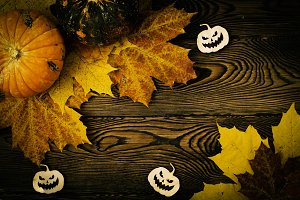 Halloween background with pumpkins,