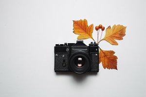 Vintage retro camera and autumn fall