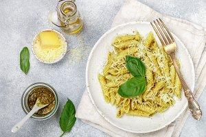 Penne pasta with pesto sauce