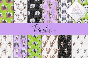 Watercolor Pandas Digital Paper