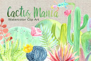 Watercolor Cactus Mania Clip Art Set