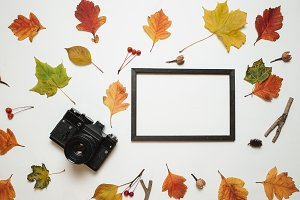 Retro camera and wooden photo frame