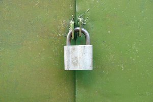 Lock on the green door