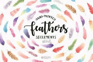 Feathers 38 Elements Watercolor Set