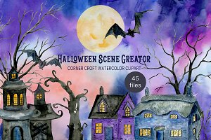 Watercolor Halloween Scene Creator