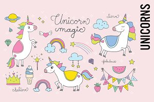 Unicorn Doodle Illustrations