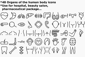 Outline Organs of human body icons