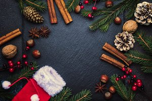 Christmas or New Year dark backgroun