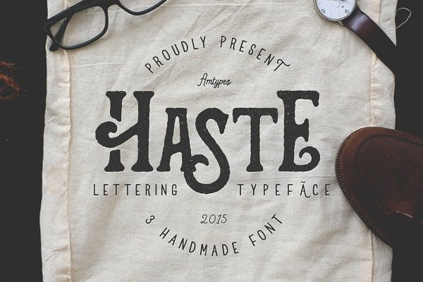Display Fonts: amtypes. - Haste - 3 Handmade Font