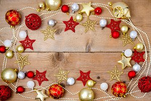 Christmas decoration on brown rustic