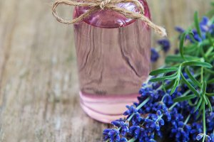 Essential oil with fresh lavender