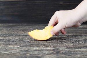 one cut fresh soft peach