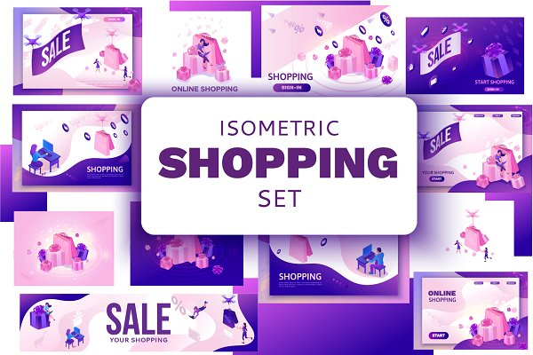 Sale headers isometric set