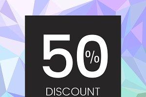 Shop now 50% discount vector